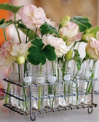 chemistry wedding idea - centerpiece made out of test tubes and pretty florals.