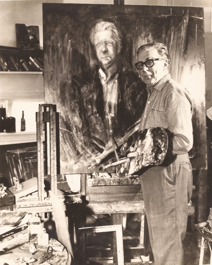Sir William Dobell in his studio at Wangi Wangi NSW 1970