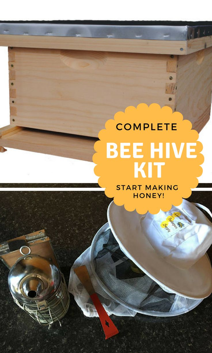 HANDMADE COMPLETE BEE HIVE KIT: Screen Bottom Board | Deep Hive Body | 10- Deep Frames | 10-Pierco Double Beeswax-Coated Foundations | Wood and Metal Outer Cover | Toolkit Includes: Hive Tool | 4x9 Smoker with removable can | Pull-over Veil | Multiple Options  #honey #beekeeping #homestead