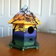 Image result for painted wooden bird houses
