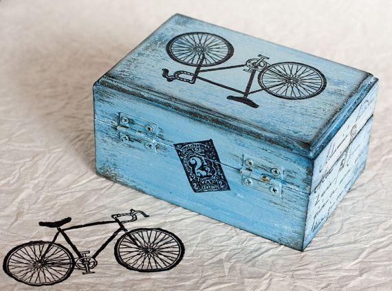 Azul caja decorativa caja apenado Hacienda Box por MyHouseOfDreams