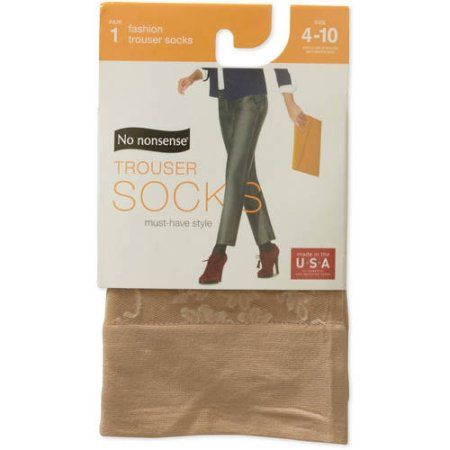 No nonsense Women's Floral Trouser Sock, Size: 4-10, Beige