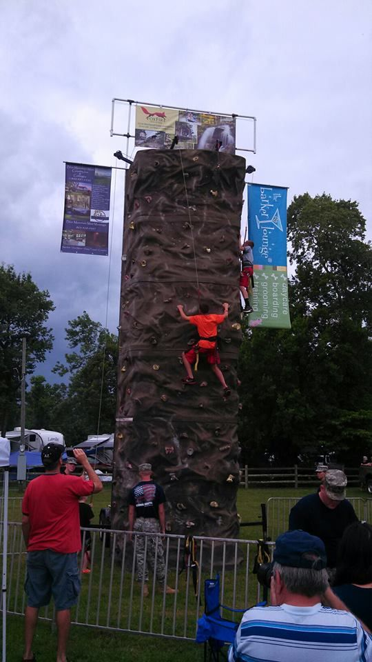 A rock wall for those daring enough to try at Patriot Festival!