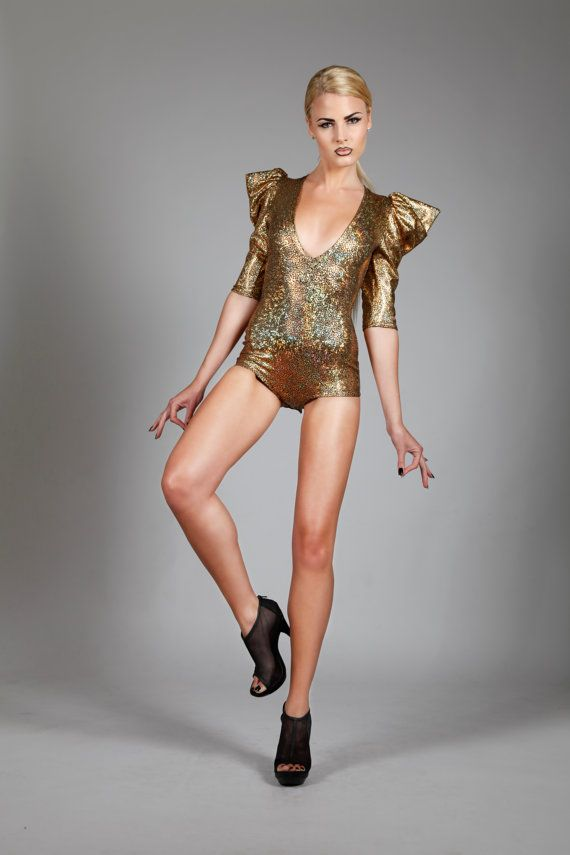 Signature Bodysuit Holographic Gold Dance Costume