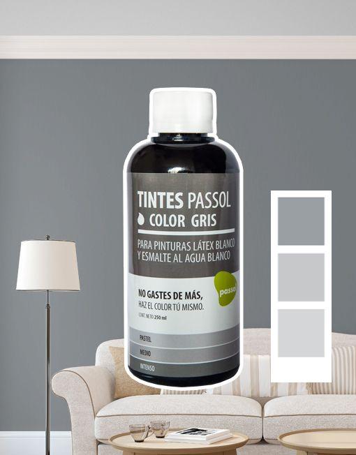 Tinte Passol Gris para mezclar con pinturas LÁTEX y ESMALTE al agua de Passol.