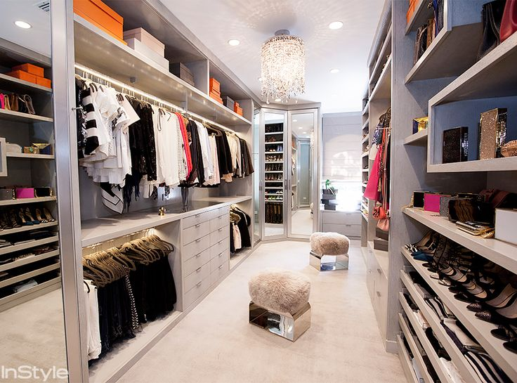 """""""I moved into my house 10 years ago, and my closet was the only room in the house that I hadn't changed or decorated,"""" Lhuillier says. """"I always dreamed for a more organized, a more beautiful space that reflected the rest of my house."""" She painted the closet a custom gray—one of her favorite shades because """"it's neutral, calming, serene, clean, and clothes stand out against gray."""""""