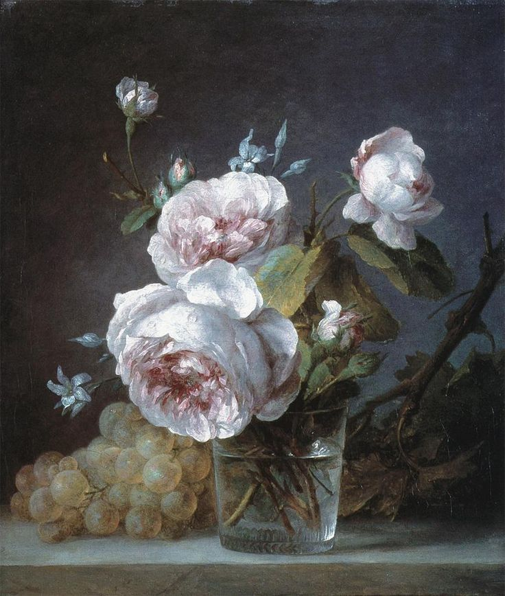 Anne Vallayer-Coster, Still Life of Pink Roses in a Glass with Grapes on a Ledge, 18th century