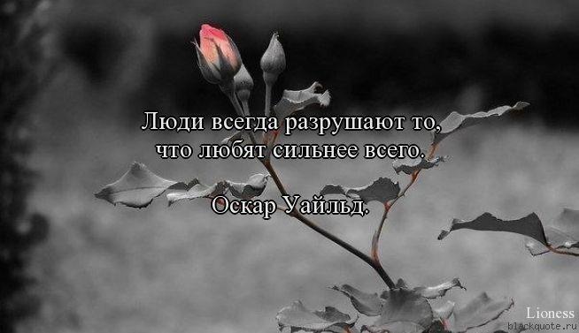 Люди всегда разрушают то,  что любят сильнее всего.   Оскар Уайльд.