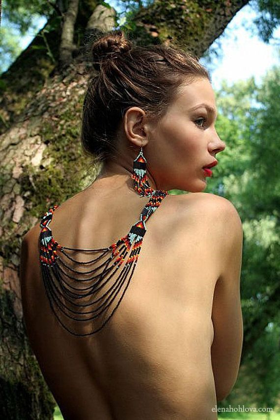 Indian style beaded in black, Beadwork, multicolor, multistrand