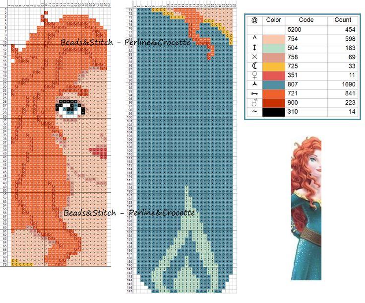 Cross stitch chart Disney Princess Merida bookmark ( Brave )