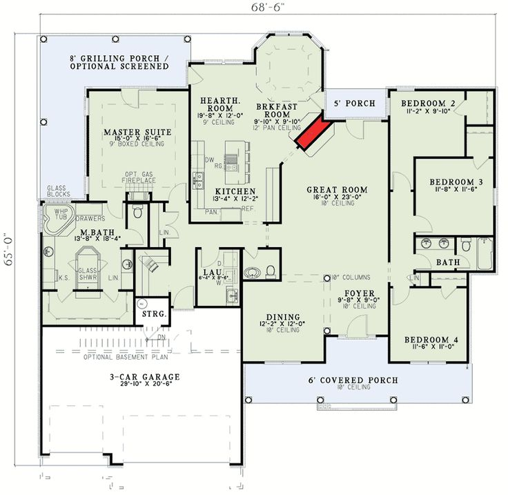 French Classic Ranch Home Plan - 59436ND floor plan - Main Level