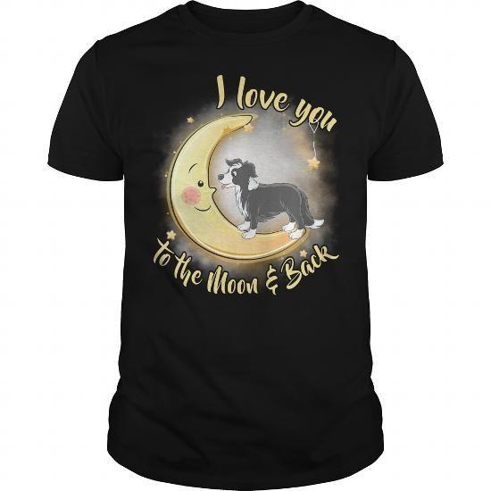 Cool Border Collie Love Moon T-Shirts
