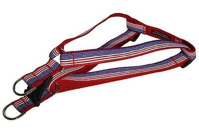 Small American Flag Dog Harness 5/8 wide Adjusts 15 - 21 - Made in USA