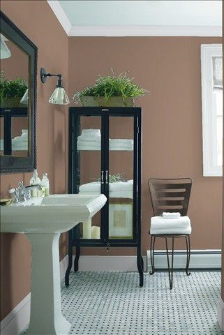 Look at the paint color combination I created with Benjamin Moore. Via @benjamin_moore. Wall: Taupetone 1013; Trim: Marilyn's Dress 2125-60; Chair: Night Horizon 2134-10.