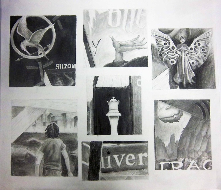 Harry Potter Book Cover Collage : Still life collage of book covers the hunger games by