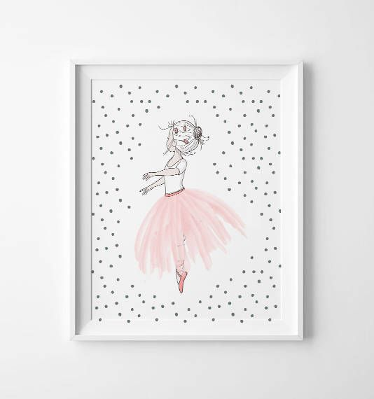 Ballerina wall art - sweet ballerina nursery art - kids wall art - Nursery Decor - pink ballerina - princess ballerina - ballet nursery art by ArtPrintsFactory on Etsy