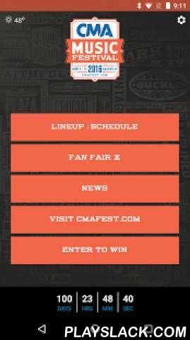 CMA Music Festival 2016  Android App - playslack.com ,  Welcome to the official app for CMA Fest 2016! Download the app to be the first to know this year's artist lineup as it's released, then create your own personalized schedule of your favorite acts and performers. In News and Socialize, be up-to-date on all things related to CMA--latest news posts, social posts from CMA and all their fans, as well as the official CMA Instagram feed. Watch for updates as we add new promotions and…