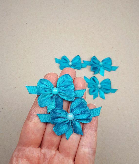 Blue Fancy Bows, Satin Ribbon Bows, Blue Craft Bows, Small Ribbon Bows, Baby Shower Bows, Blue Gift Tag Bows, Wedding Bows, Bow Supplies