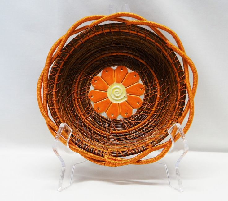 I've been experimenting with different techniques. What do you think? Orange Basket Orange Pine Needle Basket Rust Pine Needle Coiled Basket Native American Pine Needle Coiled Basket Housewarming Basket For Her by CruisinCreations on Etsy