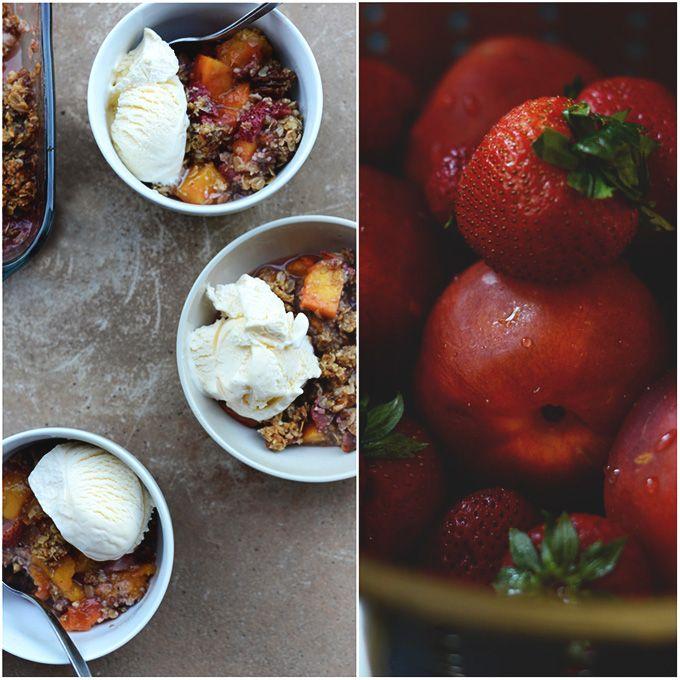 Gluten Free Strawberry Nectarine Crisp | minimalistbaker.com