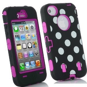 Black/White Polka Dot & Hot Pink Box Otter Style Case for IPhone 4