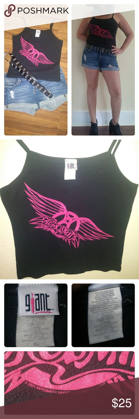 VINTAGE Aerosmith Concert Tank Vintage Aerosmith tour, biker style tank. This awesome tank from the 2004 'Honkin' on Bobo' tour is perfectly worn in. This is one of those pieces you will wear constantly; with jeans, shorts, that one pair of leggings you love. Any concert shirt collector would love to add this to their closet!   SIZE: XL(fits like a Large) *Decal has normal wear/cracking*  *Small imperfection shown*  **Accessories not included**  *All Reasonable Offers Considered* GIANT Tops…