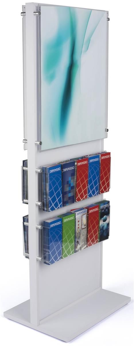 22 x 28 Wood Poster Stand w/ 20 Pockets, 2 Acrylic Panels, Double Sided - White
