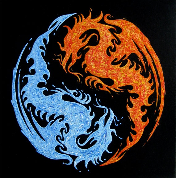 Yin yang water and fire dragons original by for Fire and ice tattoo shop