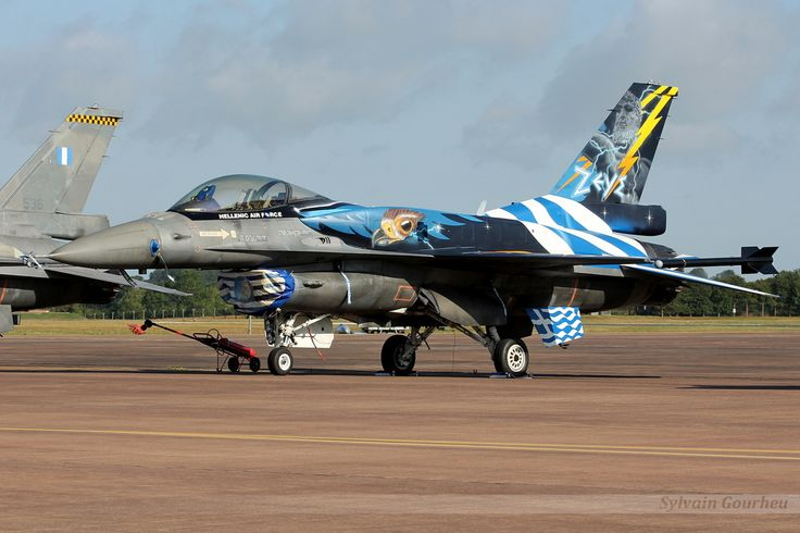 """The F-16 of the Greek Air Force, nicknamed """"Zeus"""", at the RIAT 2015 RAF Fairford."""