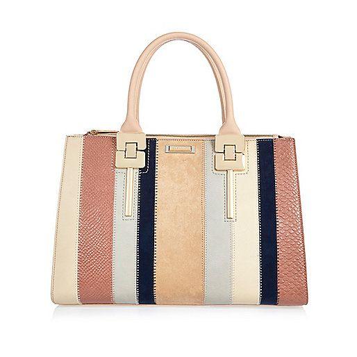 Pink stripe panelled tote handbag - shopper / tote bags - bags / purses - women