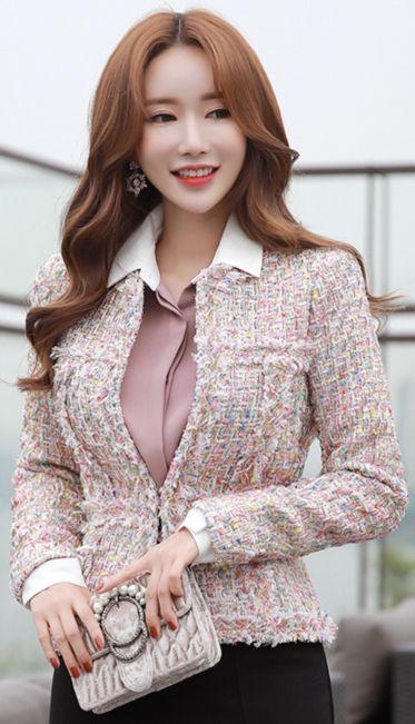 StyleOnme_Metallic Color Mix Tweed Jacket #pink #koreanfashion #kstyle #kfashion #tweed #jacket #falltrend