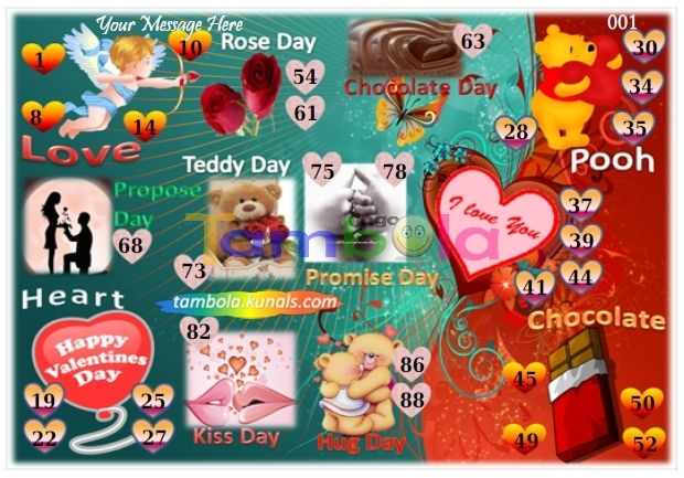 Valentine Anywhere 5 in 90 - 9x6 - 30 Cues format : Templates Tickets   Tambola Housie