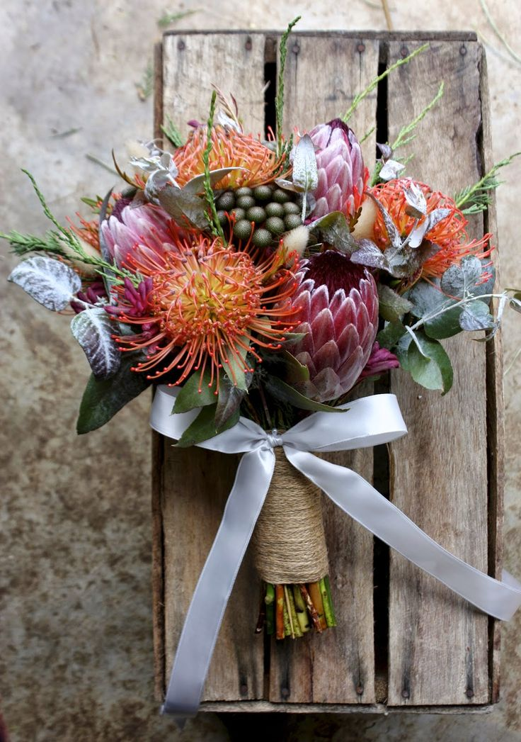 rustic late summer bouquet pincushions, protea, brunia, kanagaroo paw and eucalyptus