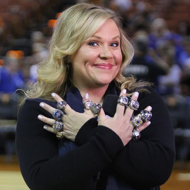 Rings on rings on rings  Welcome back Holly! #kubball from @kuhoops Instagram