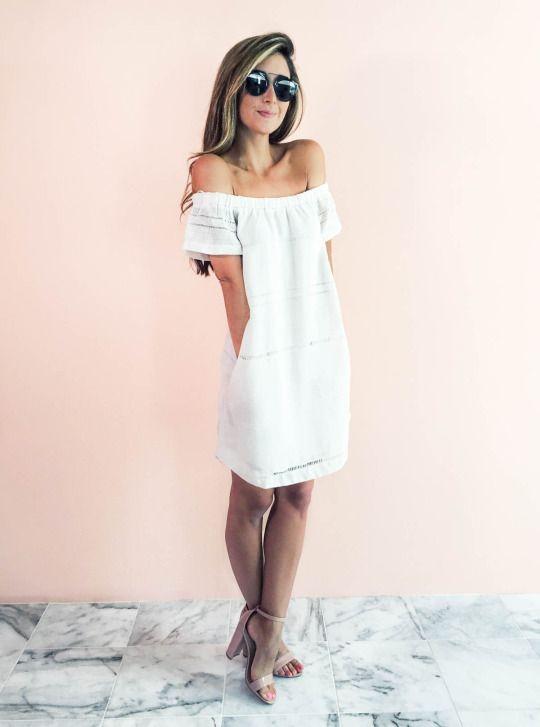 White strapless off the shoulder sundress
