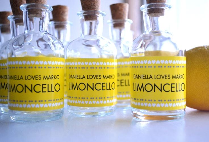 Limoncello DIY bottle favours 10 x mini 35 cork glass by HuffyHen, £19.50