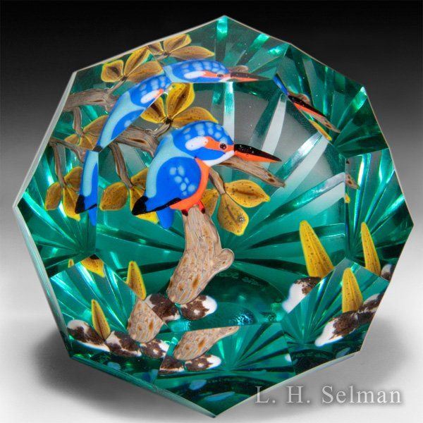 """Caithness Glass 2015 """"Kingfisher"""" blue and orange bird compound faceted paperweight, by Duncan Smith, from the Lampwork Collection. by Caithness Glass Inc"""