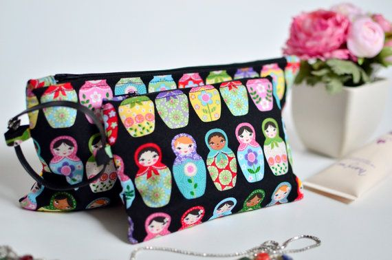 Russian doll pouch Cosmetic pouch Matryoshka by VictorsBoutique