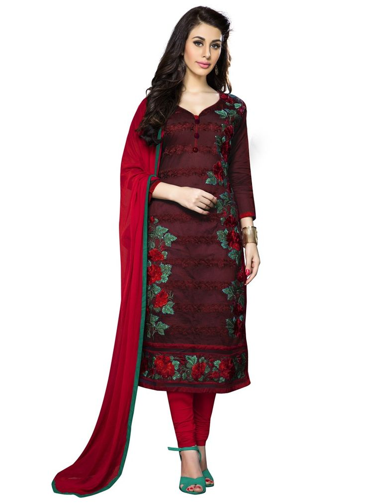 Alluring Maroon Cambric Cotton Embroidery Indian Designer Salwar Suit At Best Price By Uttamvastra - Online Shopping For Women