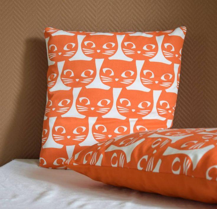 Housse de coussin Chat/ Cat orange vintage 40x 40 cm