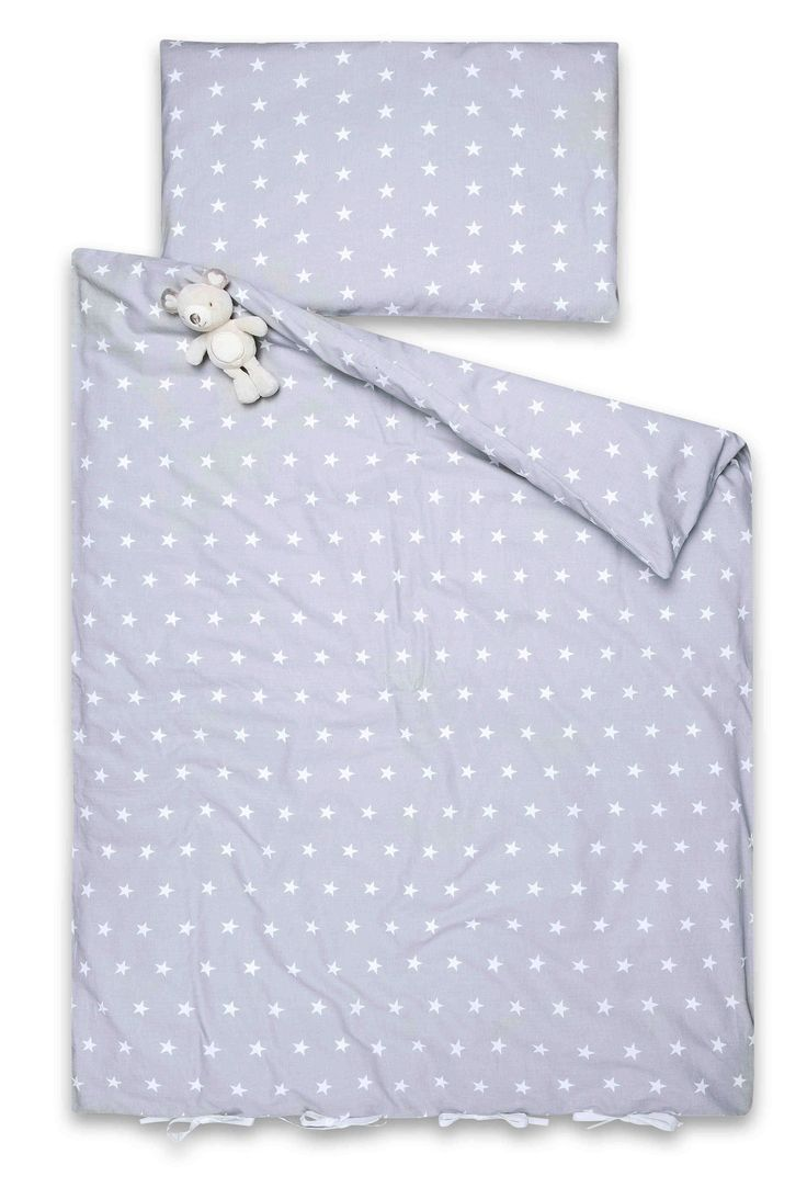 Piękna, uniwersalna srebrna pościel w białe gwiazdki dla niemowląt,  małych i większych dzieci:)  Pościel wykonana ze 100% naturalnej certyfikowanej bawełny