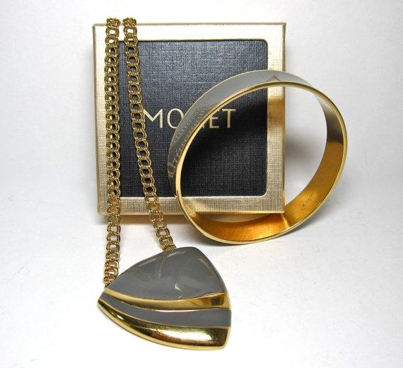 MONET Necklace and Bangle Set Gray Enamel by KnickknackFlashback, $18.00