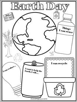 FREE - Earth Day Activity For Kids This fun writing and coloring activity will be great to use when teaching about Earth Day.