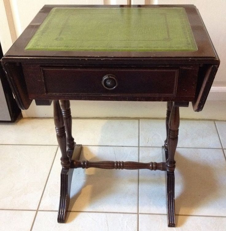 Exceptional Reproduction Mahogany Coloured Sofa Table   Green Leather Inlaid Top