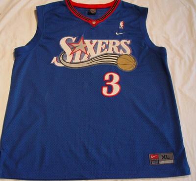 ... ALLEN IVERSON PHILADELPHIA SIXERS JERSEY 3 Allen Iverson Black Reebok  NBA Swingman ... 4d335a129