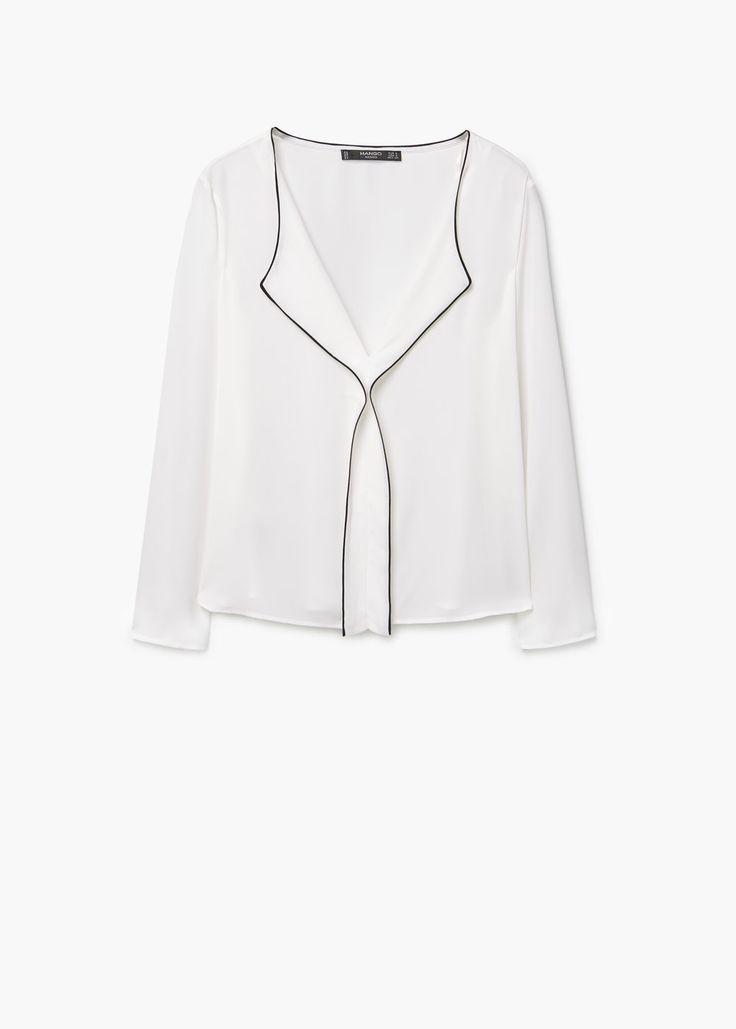 Contrast trim blouse | MANGO