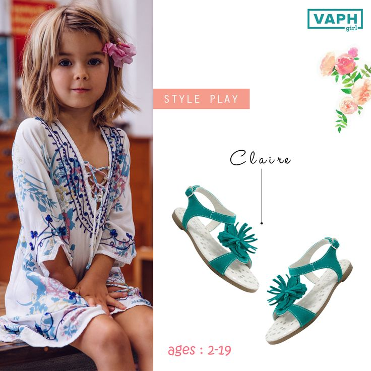 """Every adventure requires a first step."" -The Cheshire Cat, Alice in Wonderland.   Style: CLAIRE Colors: Blue   Make: Ankle buckle sandal with a floral twist. Made with soft suede leather. Designed with a memory foam cushioned padded, polka dot printed leather footbed, leather lining and anti-skid TPR outsoles.   Available on: Flipkart l Myntra l Jabong l Cherrytin  More details on: www.vaph.in  #kidsfashion #vaphgirls  In the picture: An adorable find on the internet. Sweet style, there."