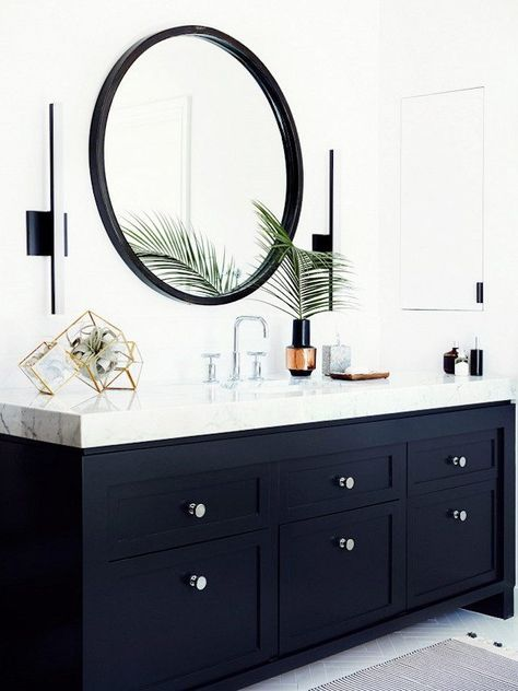 Make a statement in your bathroom with bold cabinetry.