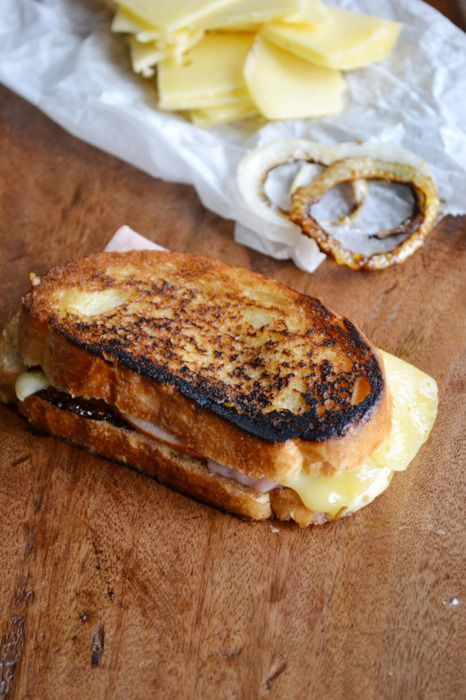 Jarlsberg Grilled Cheese and Ham Sandwich 1 slice yellow onion ...