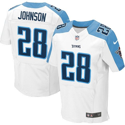 Youth Nike NFL Tennessee Titans #28 Chris Johnson Elite White Jersey$79.99
